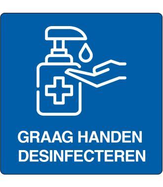 """Vloerpictogram """"graag handen desinfecteren"""""""
