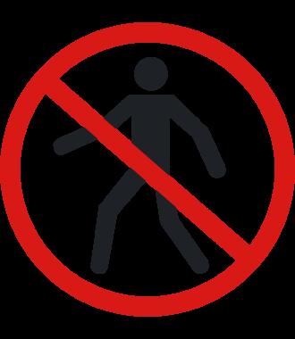"""Anti-slip-vloerpictogram """"verboden voor voetgangers"""""""