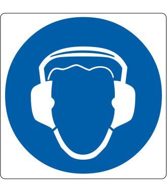 """Vloerpictogram """"gehoorbescherming verplicht"""""""